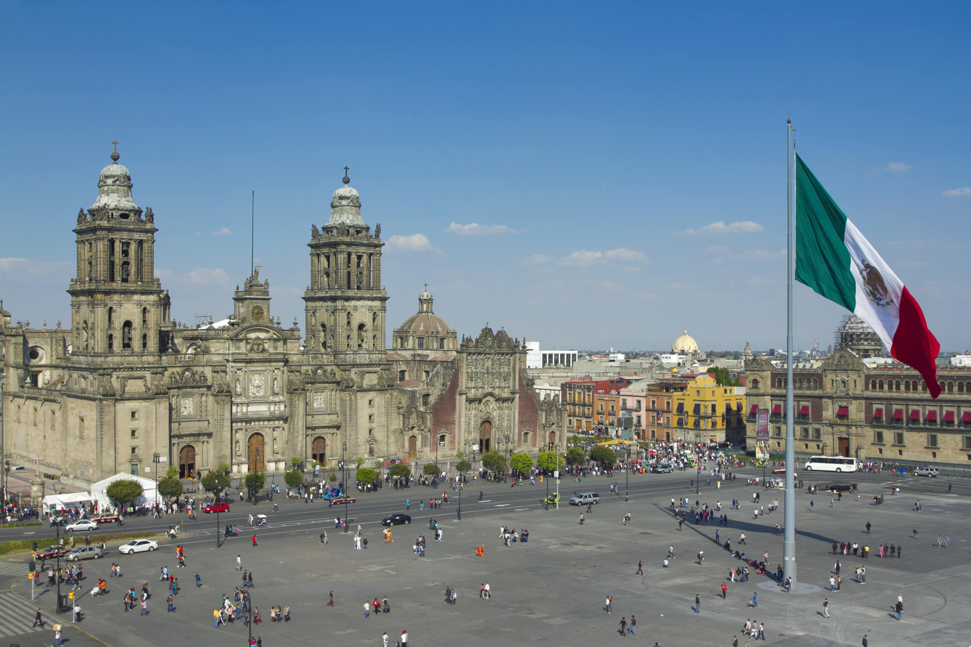 Th Zocalo in MExico City with giant Mexican flag in front