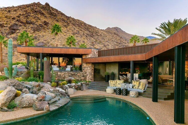 A luxury California villa in Palm Springs, with a private pool, cactus garden and mountain views
