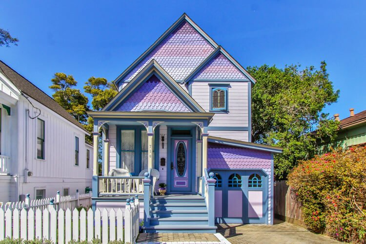 A pink and purple Monterey home